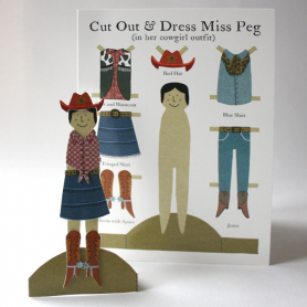 Card Cut Out And Make Cowgirl Peg