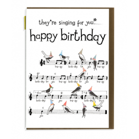 Card Happy Birthday Singing Bird