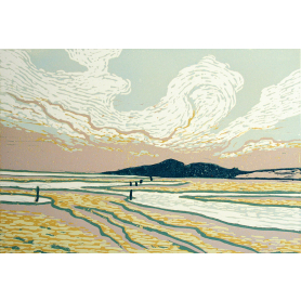 Linocut Print - Co Down A Fresh Day in Dundrum