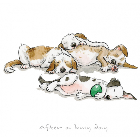 Print - A Dog's Life After a Busy Day