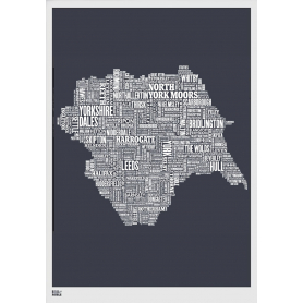 Map - England Yorkshire in Slate