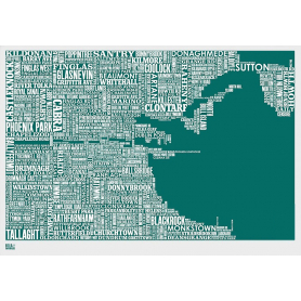 Map - Ireland Dublin in Emerald Green