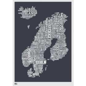 Map - Nordic Europe in Slate