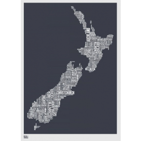 Map - New Zealand in Slate