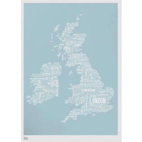 Map - UK and Ireland in Duck Egg Blue