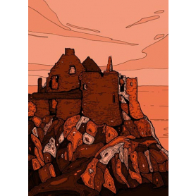 Dunluce Castle In Red
