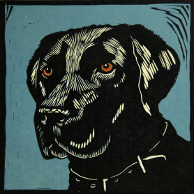 Lino Print - Black Labrador