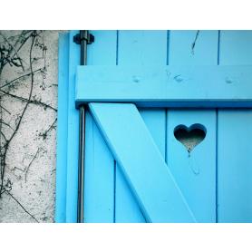 Paris In Blue Heart On Door