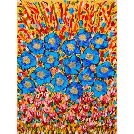 Original - Blue Poppies In Clover