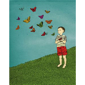Boy Releases Butterflies