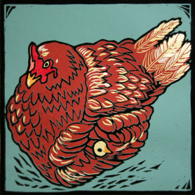 Lino Print - Brown Hen With Chick