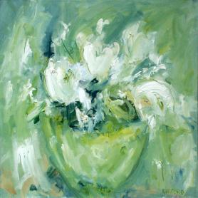 Cream Flowers On Green