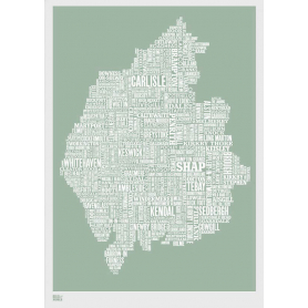 Map - England Cumbria and Lake District in Green