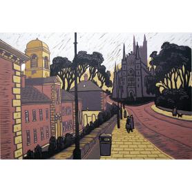 Linocut Print - Co Down Downpatrick Cathedral 1994