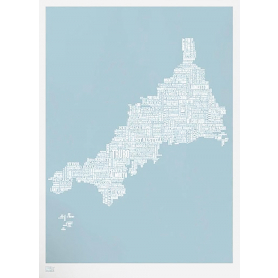 Map - England Cornwall in Duck Egg Blue