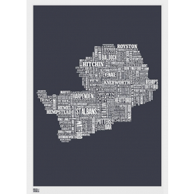 Map - England Hertfordshire In Slate