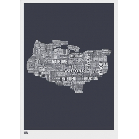 Map - England Kent in Slate