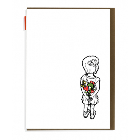 Card Little Girl with Flowers