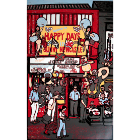 Linocut Print - Co Down Happy Days In Sunny Newcastle Two 1997 Artist Proof