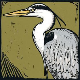 Lino Print - Grey Heron