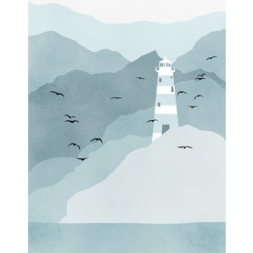 Lighthouse In Teal And Grey