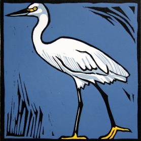 Lino Print - Little Egret