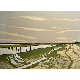 Linocut Print - Co Down Low Tide Back Beach, Dundrum