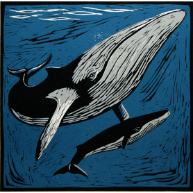 Lino Print - Minke Whale