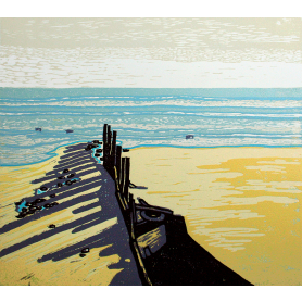 Linocut Print - Co Down Newcastle Breakwater