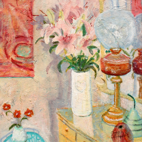 Oil Lamp And Lilies