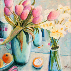 Pink Tulips In Turquoise Pot