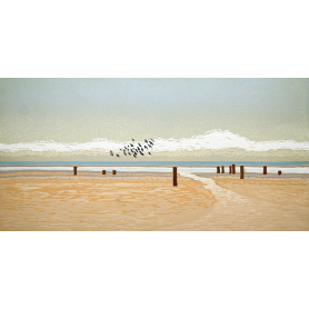 Linocut Print - Co Down Plovers on the Back Beach, Dundrum