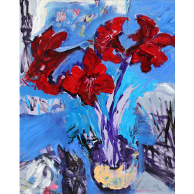 Original - Red Amaryllis With Brushes And Knives