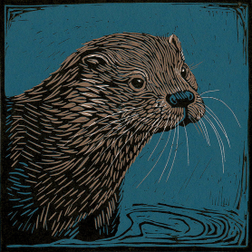 Lino Print - Sea Otter