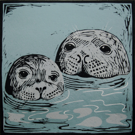 Lino Print - Seal With Pup