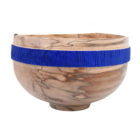 Spalted Beech Bowl With Blue Acrylic Band