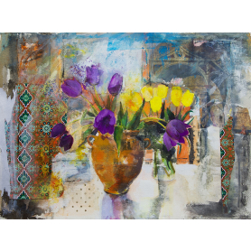Still Life With Purple And Yellow Tulips