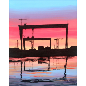 Summer Sunset By The Cranes