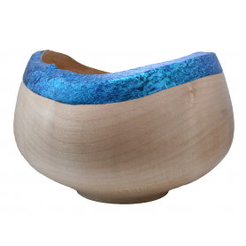 Sycamore Bowl With Natural Edge & Coloured Rim