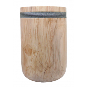 Tall Spalted Beech Vessel With Textured Rim