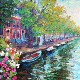 Original - Trees And Canal, Amsterdam