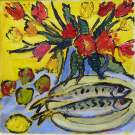 Print - Two Mackerel With Tulips And Apples