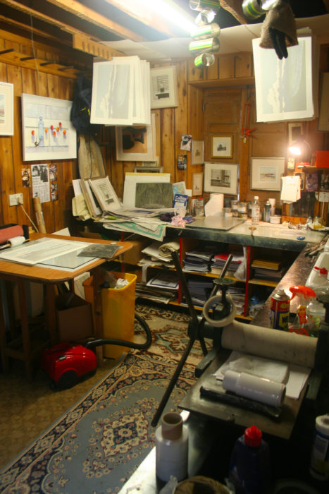 Richard Croft's Inking and Drying room